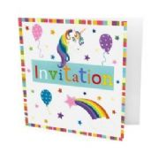 Pack of 10 Unicorn Party Invitations